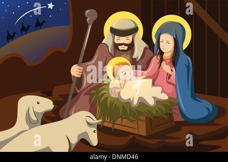 Un vecteur illustration de Joseph, Marie et l'enfant Jésus pour le concept de la nativité