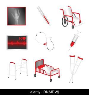 Un vecteur illustration d'un ensemble d'icônes médicale Banque D'Images