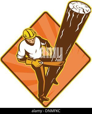 Illustration d'un joueur de pouvoir réparateur électricien au travail des travailleurs des services publics d'escalade Banque D'Images
