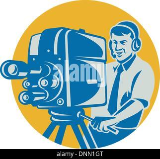 Illustration d'une équipe de tournage caméraman de la télévision Tournage avec caméra film fait dans le style rétro Banque D'Images