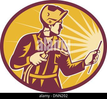 Illustration de l'ouvrier soudeur chalumeau vu de côté situé à l'intérieur fait en ovale style rétro. Banque D'Images