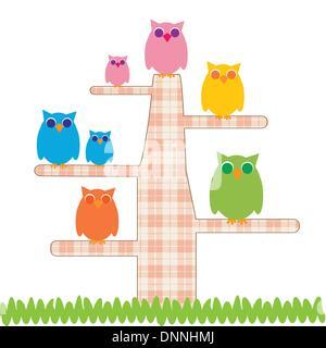 Cute kids cartoon avec arbre et est propriétaire de Banque D'Images