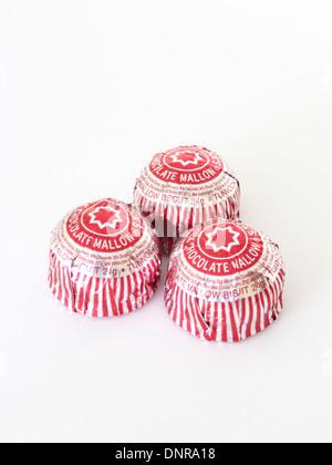 La marque Tunnock Gâteaux Thé Chocolat au lait sur un fond blanc Banque D'Images