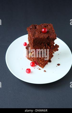 Deux morceaux de gâteau au chocolat, de l'alimentation libre Banque D'Images