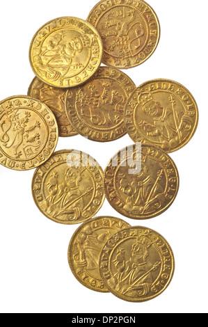 Pièces d'or médiévale Banque D'Images
