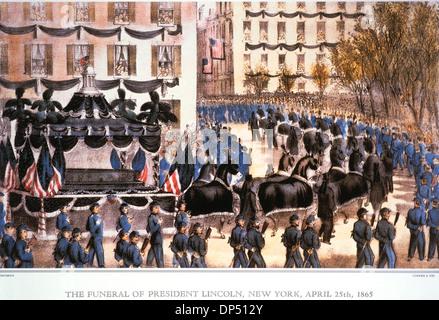 Les funérailles du président Lincoln, New York, 25 avril, 1865, lithographie, Currier & Ives, 1865 Banque D'Images