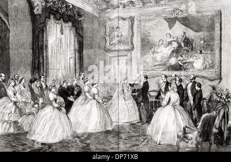 Cérémonie de mariage de la princesse Alice et le Prince Louis de Hesse dans la salle à manger d'Osborne House Isle Banque D'Images