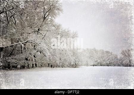 Parc couvert de neige, avec look vintage. Banque D'Images