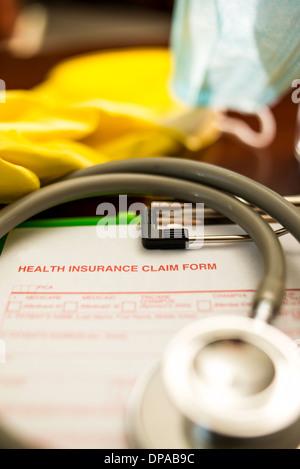 Formulaire de demande d'assurance-santé -- Profondeur de champ Banque D'Images