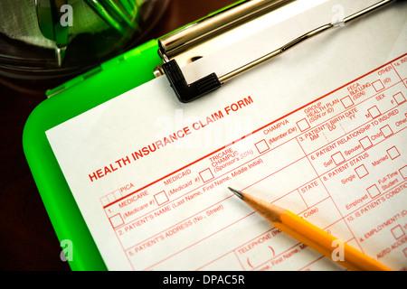 Formulaire de demande d'assurance-santé - Shallow DOF Banque D'Images