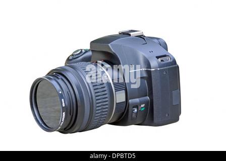 Appareil photo numérique reflex noir sur fond blanc Banque D'Images