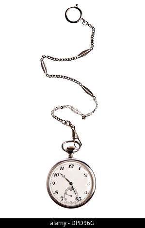 Vintage montre de poche avec chaine Banque D'Images