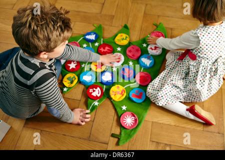 Décoration enfants calendrier de l'Avent, Munich, Bavière, Allemagne Banque D'Images