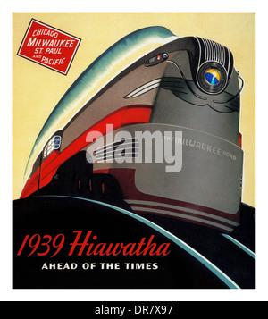 VINTAGE TRAIN VOYAGE 1939 affiche publicitaire de voyage en train à travers les Etats-Unis Chicago Milwaukee Saint Banque D'Images