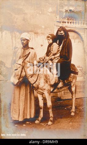 Le Caire, Égypte - La famille et de l'Âne Banque D'Images