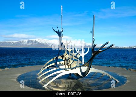 Bateau Viking sculpture, Reykjavik, Islande Banque D'Images
