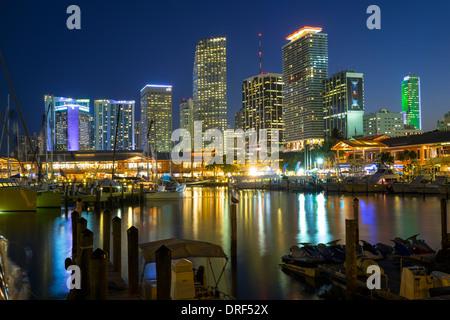 L'horizon financier de Miami, Floride, USA Banque D'Images