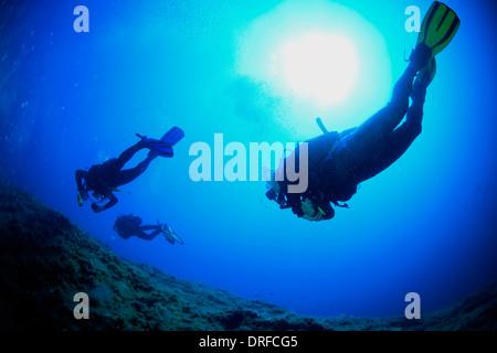 Plongée sous-marine, du soleil, de la mer Adriatique, la Croatie, l'Europe Banque D'Images