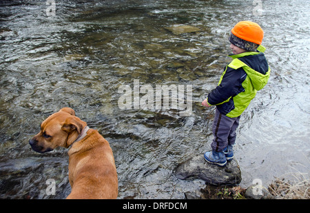 Jeune garçon au chien sur la berge Banque D'Images