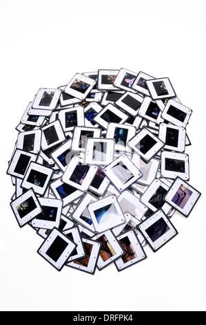 De nombreuses diapositives couleur sur blanc Banque D'Images