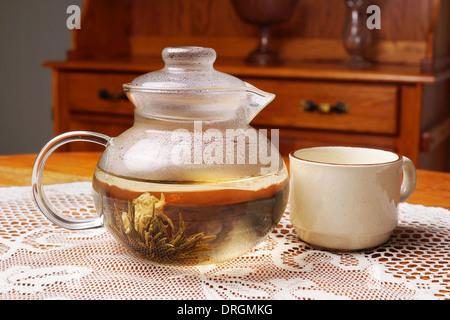 Infusion en théière en verre avec cuvette, look vintage Banque D'Images