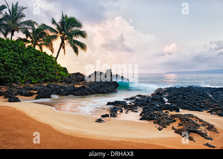 La première lumière de la beauté à la plage de mariage sur l'île de Maui. Banque D'Images