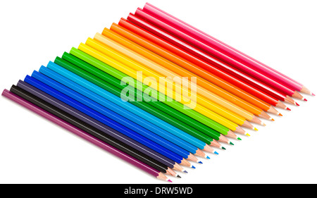 Color pencils isolated on white Banque D'Images
