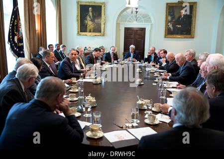 Le président américain Barack Obama rencontre des membres du Congrès pour discuter de la Syrie dans la salle du Banque D'Images