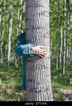 Dix ans, fille, debout derrière peuplier cultivées commercialement sur grand arbre ferme près de Pendleton Banque D'Images