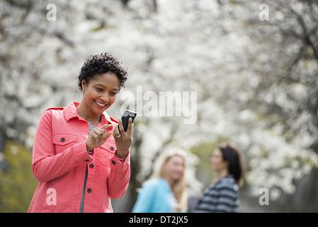 Les gens à l'extérieur dans la ville au printemps des fleurs blanches sur les arbres, une jeune femme contrôle de Banque D'Images