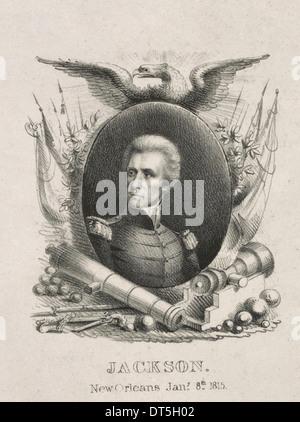 Un portrait emblématique d'Andrew Jackson, invoquant son passé comme un héros militaire et surtout sa victoire à Banque D'Images