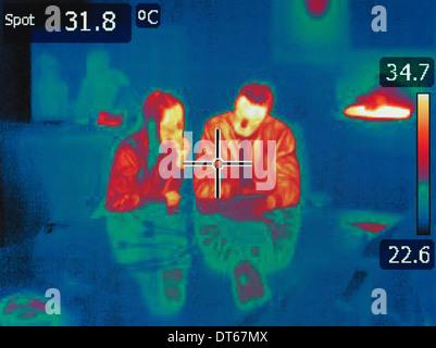 La chaleur infrarouge de droit des employés de bureau en réunion Banque D'Images
