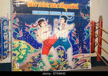 Fresque de boxeurs thaïlandais traditionnels, combats de boxe Muay Thai Royal Princess Larn Luang, Bangkok, Thaïlande Banque D'Images