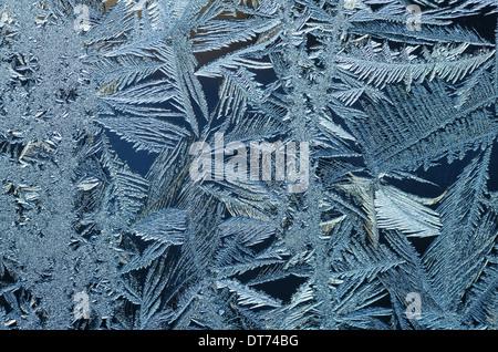 Macro image de cristaux de givre sur une vitre Banque D'Images