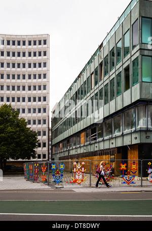 Février 2014. Séisme a endommagé et abandonné les immeubles de bureaux à Christchurch Central Business District. CBD. La Nouvelle-Zélande. Banque D'Images