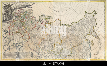 Première carte générale de l'Empire russe, 1745. Artiste: maître anonyme Banque D'Images
