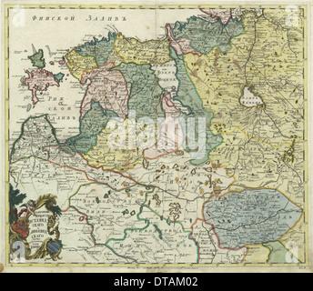 La carte de l'Estonie et la Livonie, 1745. Artiste: maître anonyme Banque D'Images