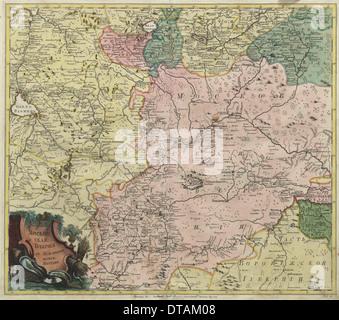 Carte de Moscou des gouvernorats et parties de provinces plus proche, 1745. Artiste: maître anonyme Banque D'Images