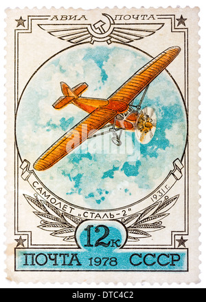 Urss - circa 1977: un timbre-poste imprimé en l'URSS montre avion Stal-2, vers 1977 Banque D'Images