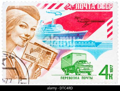 Timbres en l'URSS affiche poster de l'URSS. Ces timbres promouvoir mail et de la correspondance. Series, vers 1977 Banque D'Images