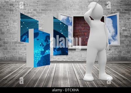 Image composite de la pensée de caractères blancs Banque D'Images