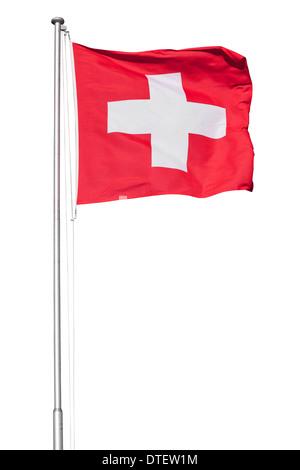 Drapeau suisse sur un poteau de métal, isolé sur fond blanc Banque D'Images
