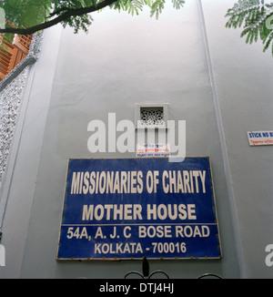 Maison de Mère Teresa à Calcutta Calcutta dans le Bengale occidental en Inde, en Asie du Sud. La religion chrétienne Banque D'Images
