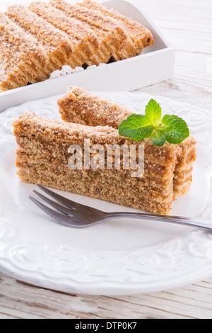 Gâteau au caramel en couches Banque D'Images