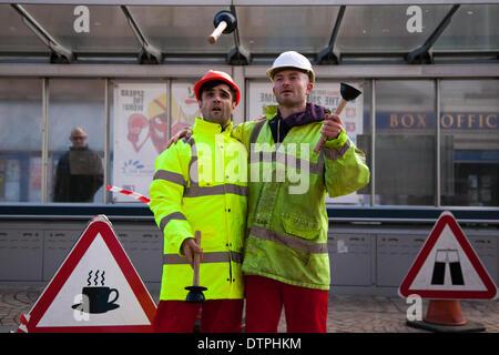"""Blackpool, Lancashire, UK 12er février 2014. Le """"Bureau des idées stupides à la """"Road Show' travailleur, d'une loi Banque D'Images"""