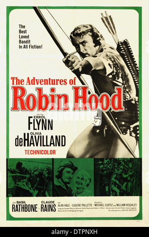 Affiche de Film Les aventures de Robin des Bois - 1938 American film avec Errol Flynn Banque D'Images