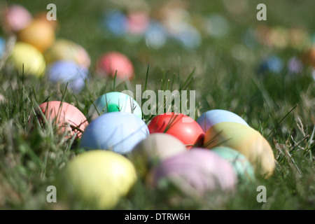 Œufs de Pâques colorés sur fond d'herbe ensoleillée