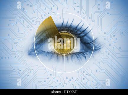 Close up of woman eye avec un radar Banque D'Images