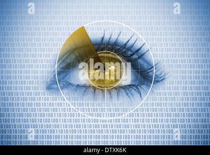 Close up of woman eye avec un radar autour de Banque D'Images