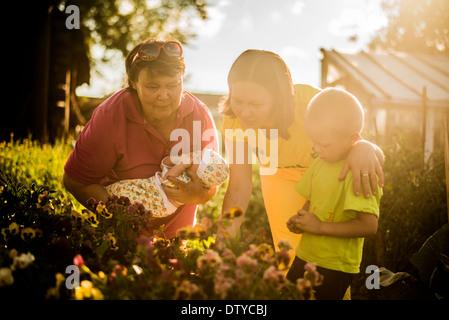 L'examen de la famille caucasienne flowers in garden